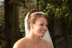 Bride with flowers in mystic connecticut wedding