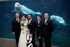 Wedding party at Mystic Aquarium in Connecticut.
