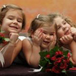 3 Cute flower girls at wedding
