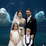Wedding Bride and Groom with Beluga Whale