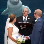 Wedding Bride and Groom with beluga in Mystic Aquarium