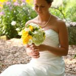 bride holding bouquet in Mystic, CT.