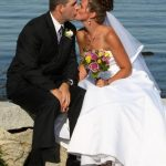 Groom and Bride Kissing on their wedding day